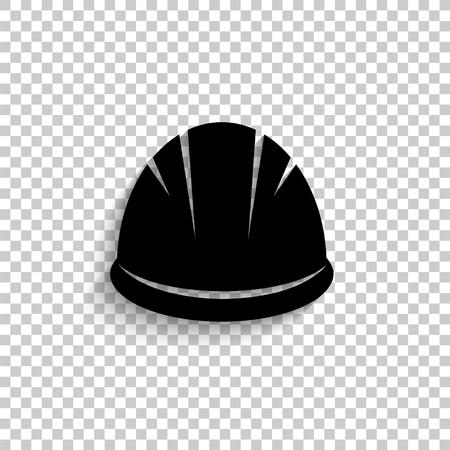 Hardhat - black vector icon with shadow Vetores