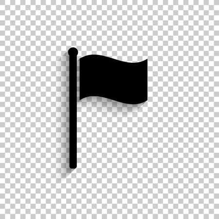 flag - black vector  icon with shadow
