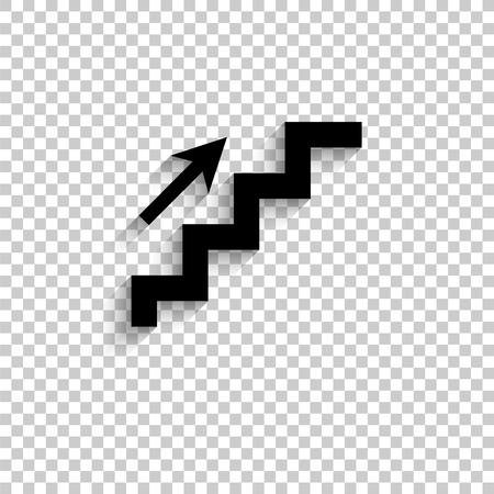 escaleras - icono de vector negro con sombra