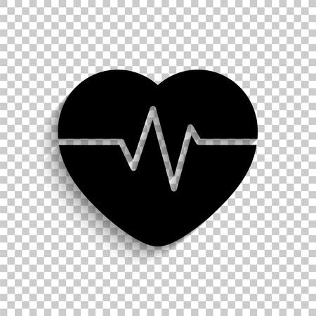 Heart Pulse Beat - black vector  icon with shadow Иллюстрация