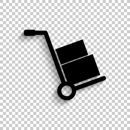 Hand truck - black vector  icon with shadow