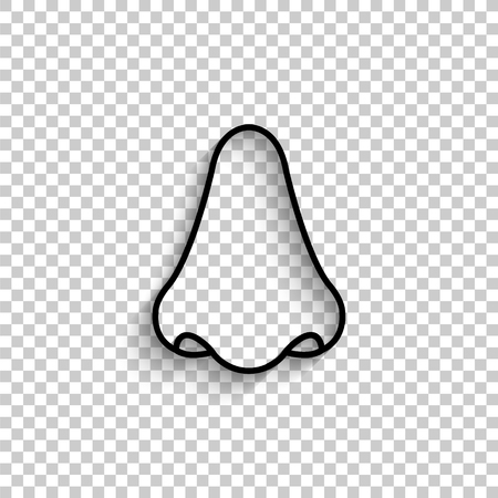 Nose - black vector  icon with shadow