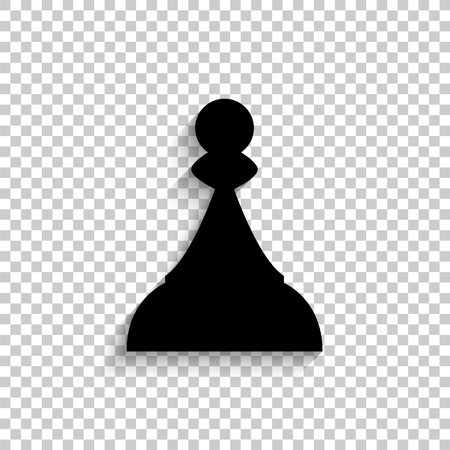 Chess Pawn - black vector icon with shadow