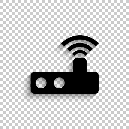 Router - black vector  icon with shadow Illustration
