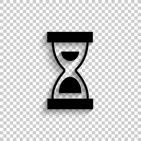 Hourglass - black vector  icon with shadow
