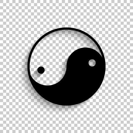 Yin yang symbol - black vector  icon with shadow Illustration