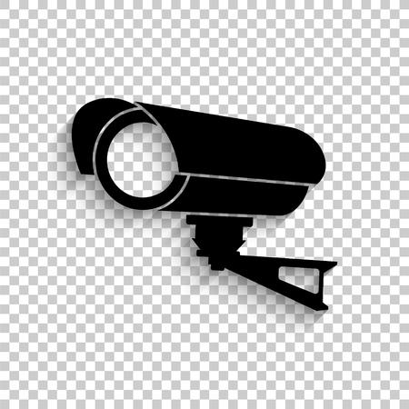 Video surveillance CCTV Camera - black vector  icon with shadow Ilustração