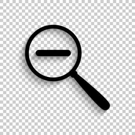 Zoom out - black vector icon with shadow