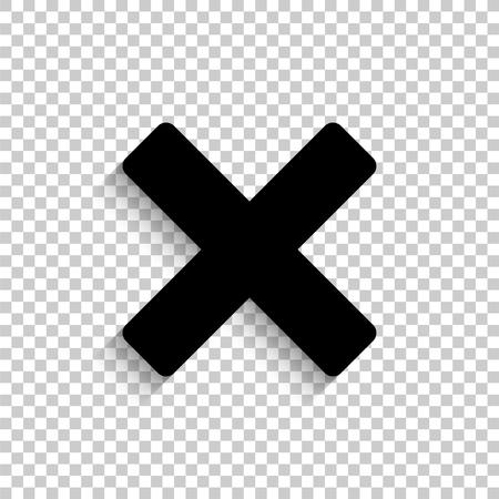 Delete - black vector  icon with shadow 向量圖像