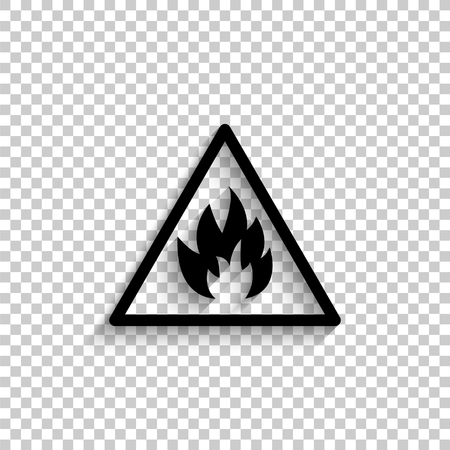 Fire danger sign - black vector  icon with shadow