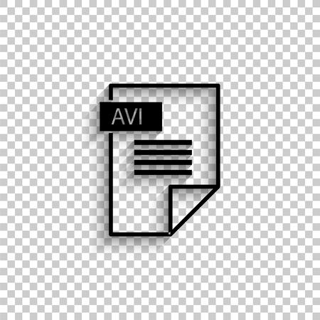 avi icon - black vector icon with shadow Vector Illustration