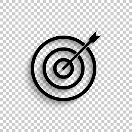 darts - black vector  icon with shadow