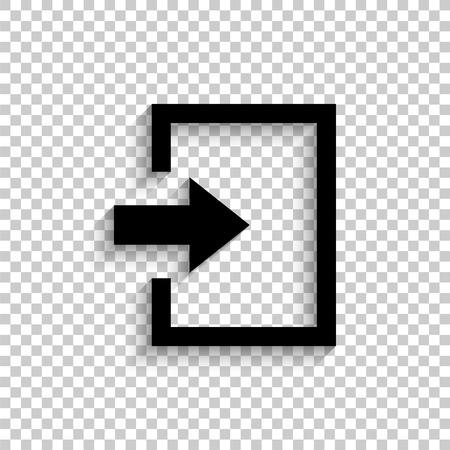 exit - black vector  icon with shadow