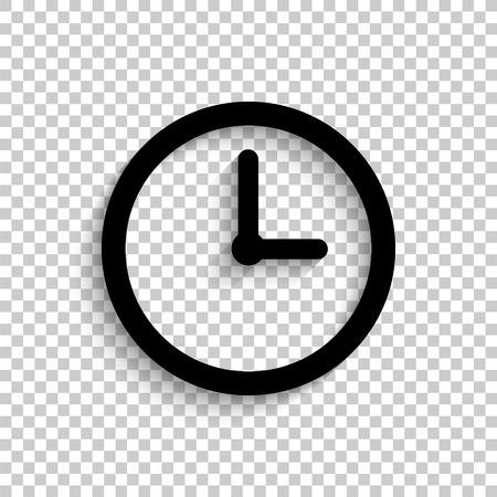clock - black vector  icon with shadow