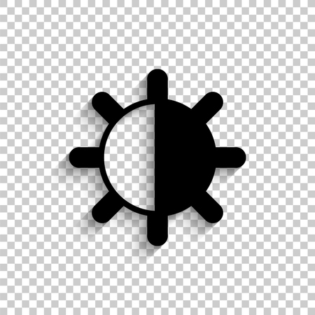 contrastes - icono de vector negro con sombra