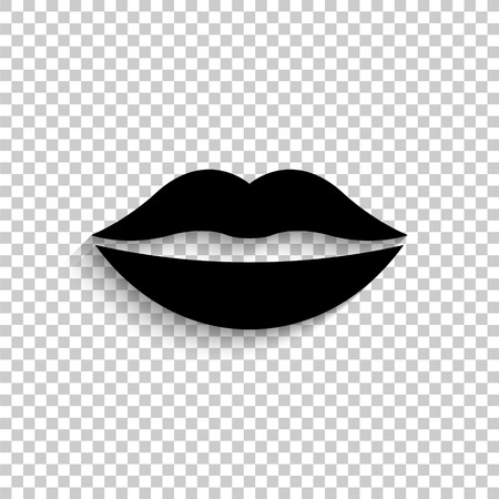 lips - black vector  icon with shadow