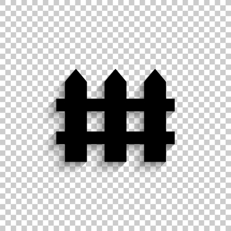 Fence - black vector  icon with shadow