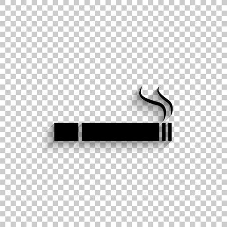 Cigarette - black vector icon with shadow