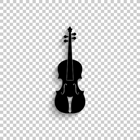 violin - black vector icon with shadow