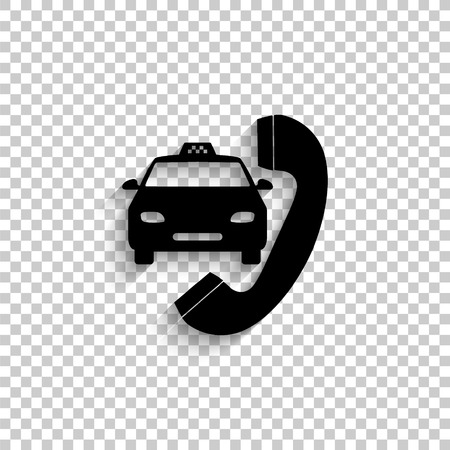 taxi - black vector  icon with shadow