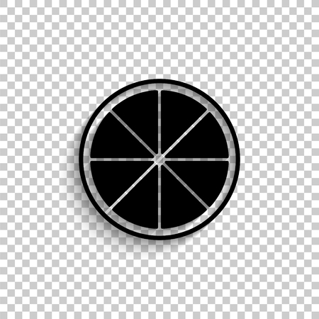 lemon - black vector icon with shadow