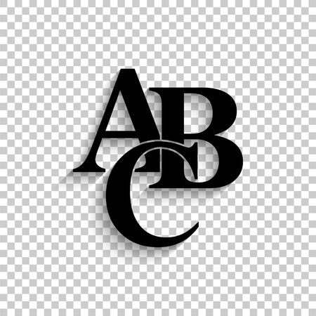 symbols heap of alphabet - black vector  icon with shadow