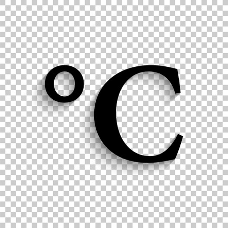 degrees Celsius - black vector  icon with shadow