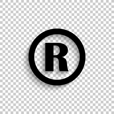 Registered Trademark - black vector  icon with shadow Illustration