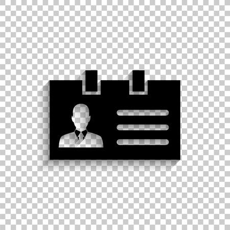 Identification card - black vector  icon with shadow Illusztráció