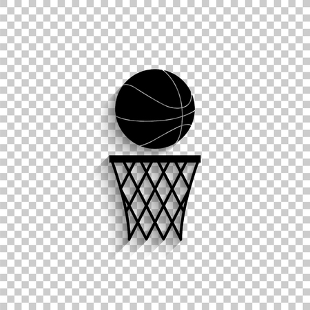 basketball - black vector icon with shadow