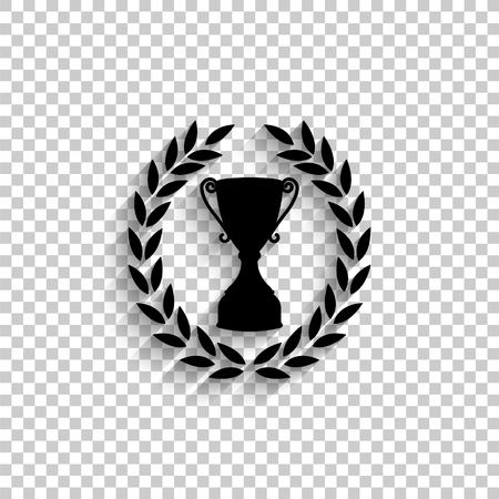 Cup with wreath - black vector  icon with shadow