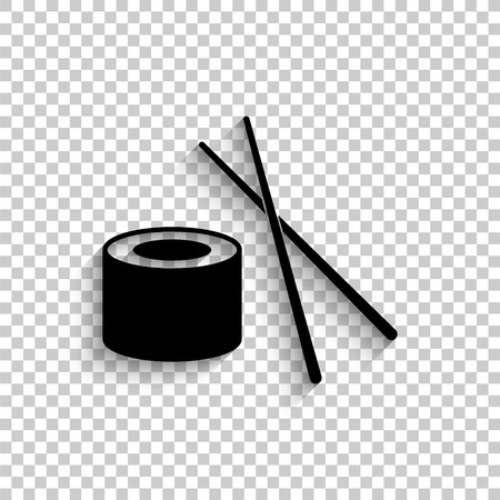 sushi - black vector icon with shadow