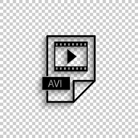 avi icon - black vector  icon with shadow