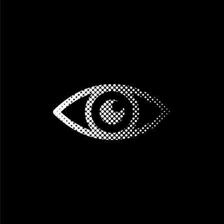 Eye - white vector icon;  halftone illustration Ilustração