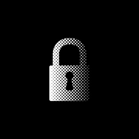 lock - white vector icon;  halftone illustration
