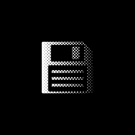 Save - white vector icon;  halftone illustration Çizim