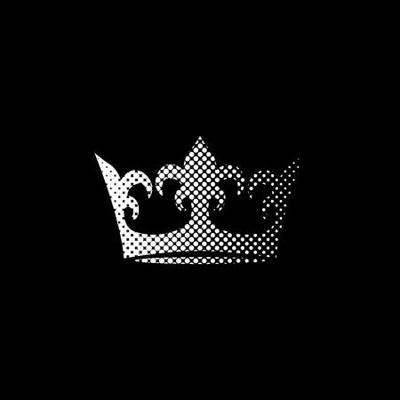 crown - white vector icon;  halftone illustration