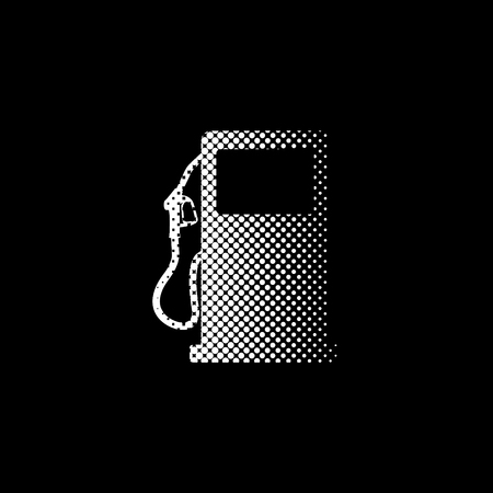 gas station sign - white vector icon;  halftone illustration
