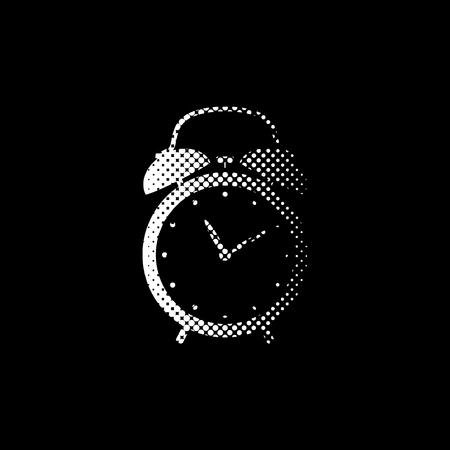 alarm clock - white vector icon;  halftone illustration Ilustrace