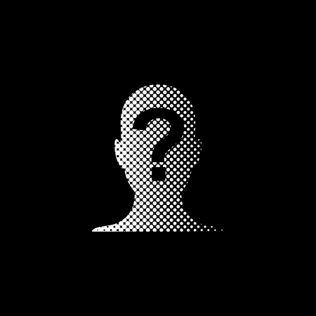 Male profile silhouette with question mark - white vector icon;  halftone illustration Ilustração