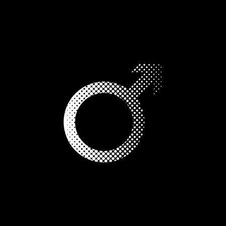 Male - white vector icon;  halftone illustration 일러스트