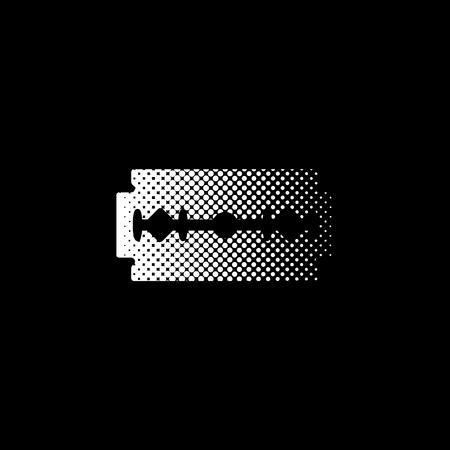 Blade razor - white vector icon ; halftone illustration