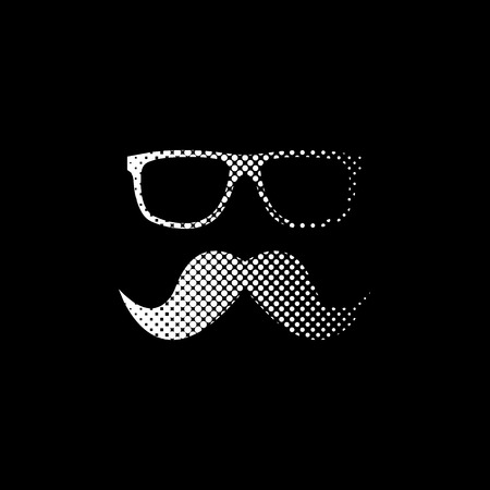 Nerd glasses and mustaches - white vector icon;  halftone illustration 向量圖像
