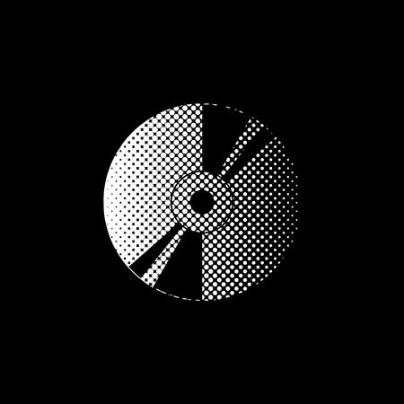 CD or DVD - white vector icon; halftone illustration