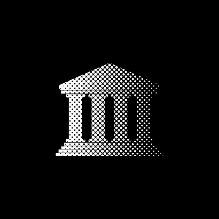 Court Building - white vector icon; halftone illustration