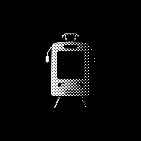 Tram - white vector icon;  halftone illustration