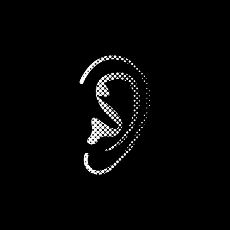 Ear - white vector icon ; halftone illustration