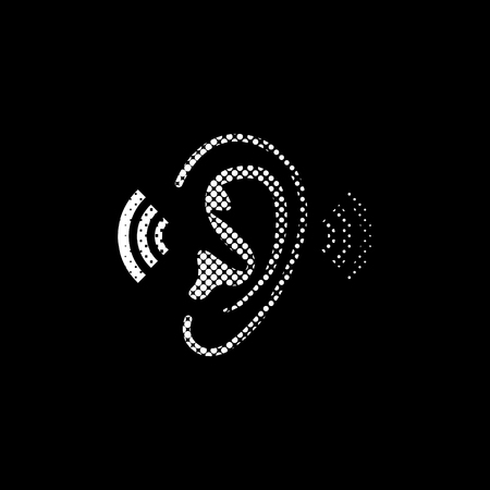 Ear - white vector icon;  halftone illustration