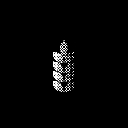 wheat - white vector icon;  halftone illustration Vettoriali