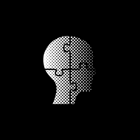 People head with puzzles elements - white vector icon ; halftone illustration
